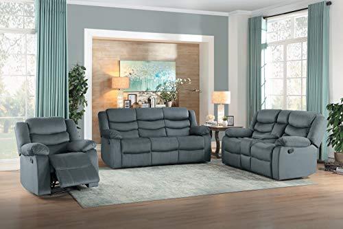 Homelegance Vining 3-Piece Manual Reclining Sofa Set, Gray