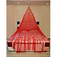 Creative Textiles Polyester Hanging Mosquito Net for Adults Double Bed (Red)