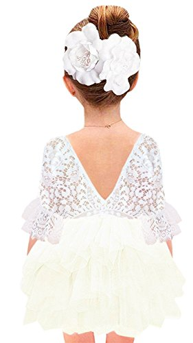 Tiered Beading - 2Bunnies Girl Baby Girl Beaded Backless Lace Back Tutu Tulle Flower Girl Party Dress (Ivory Bell Sleeve, 6)