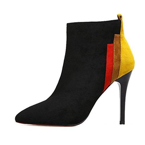 Noir Pointu Femmes Botte 39 Martin Aiguille Suédé Bottes Haut Demi Chaussures Talon Bout Cheville Classique OqwnzBRRx5