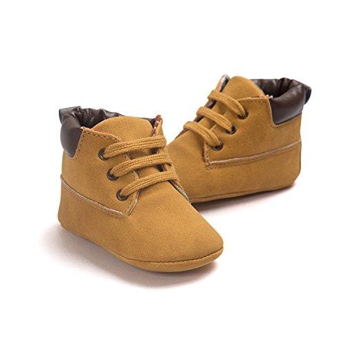 Baby Schuhe Für 0-18 Monate , Auxma Babyjungen weiche lederne Schuhaufladungen Prewalker Schuhe (12(6-12M), Weiß) Khaki