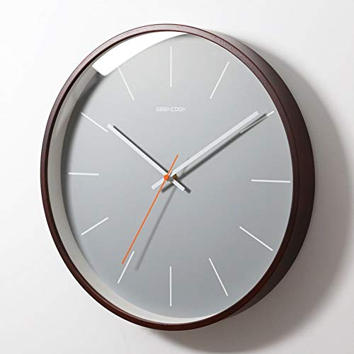 Giow Solid Wood Wall Clock,14 inch Silent Universal Round Quartz Clock Easy to Read Home/Office/School Clock Decorative Living Room Modern (Color : C, Size : 14inch(30cm)) (Universal Round Wood Clock)