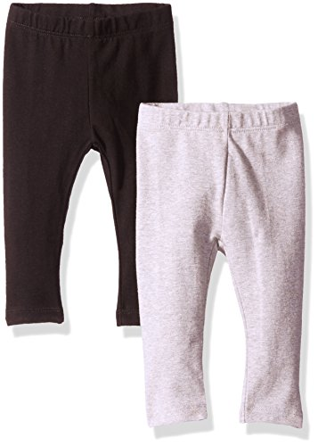 The Children's Place Baby Girls' Legging (Pack of 2), Black/Grey, 6-9 Months