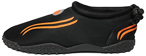 Easy USA The Water Neon Orange Wave Women's Black Shoes 54xxEFU