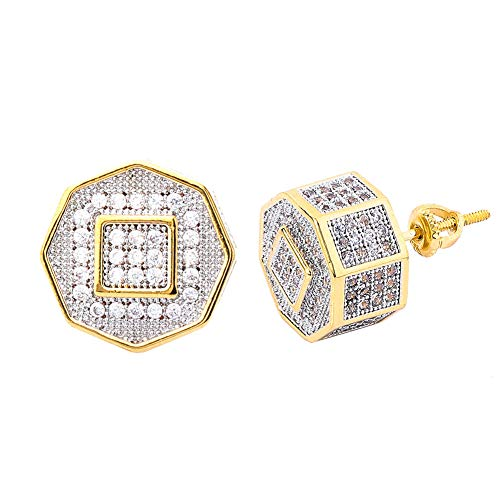 Hip Hop Diamond Earrings - TOPGRILLZ 925 Sterling Silver Iced out Simulated Lab Diamond Cubic Zirconia Square in Polygons Screw Back Earrings for Men Hip Hop (Gold Square)