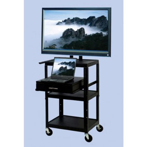 VTI Flat Panel TV Cart 26-42 Adjustable Cart with Locked Drawer and Pull Out Shelf
