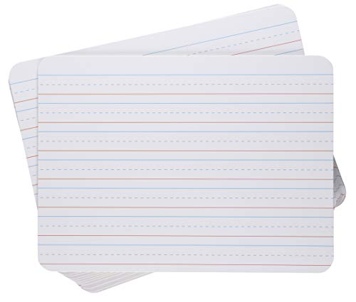 White Dry Erase Lapboards - 12-Pack Double Sided Plain and Lined Lap Board, 9 x 12 Inch Whiteboard, Alphabet Letters Practice Writing for Kids, Penmanship Class -