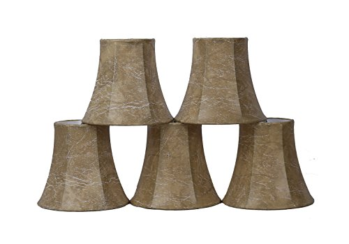 Set of 5 Faux Leather Chandelier Shade, 5-inch Bottom Diameter, 4.5-inch Height, Bell Shape, Clip on