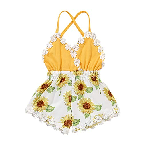 Baby Summer Clothes Off Shoulder Baby Girl Lace Romper Floral Jumpsuit Bodysuit Cute Photography Outfits One Piece Cotton Summer Overalls 2-3T Yellow ()