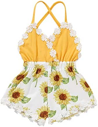 YOUNGER TREE Newborn Baby Toddler Girls Sunflower Romper Strap Backless Bodysuit Jumpsuit Outfits Clothes Summer
