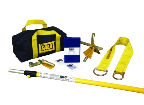 3M DBI-SALA First-Man-Up 2104527 Remote Anchor System, 6 to 12' Pole, Tie-Off Adaptor and Snap Hook Installation/Removal Tool, 3' Tie-Off Adaptor, Carrying Bag, Navy/Yellow