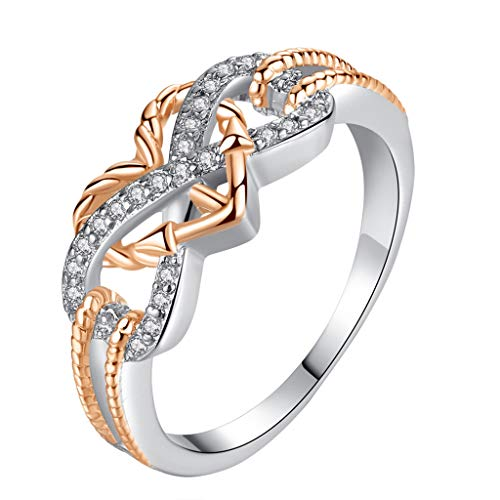 (Wenini Women Creative Number 8 Knot Rings Copper and Rhinestone Separated Plated Zircon Ring Jewelry Gift for Women Girls (7, Silver))