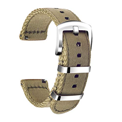 - Ullchro Nylon Watch Strap Replacement Canvas Watch Band Military Army Men Women - 18mm, 20mm, 22mm, 24mm Watch Bracelet with Stainless Steel Silver Buckle (22mm, Beige)