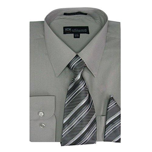 Milano Moda Men's Dress Shirt with Tie/Handkerchief HLSG21A New York -