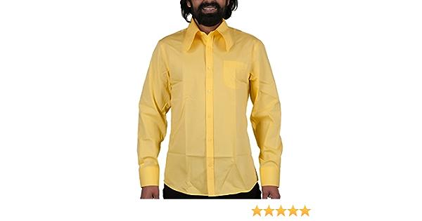 Comycom Camisa de los años 70, color amarillo claro: Amazon ...