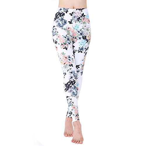 Price comparison product image ERXH Women Girls Printed Brushed leggings Full Length Skinny Stretchy Pants (White Flower#6)
