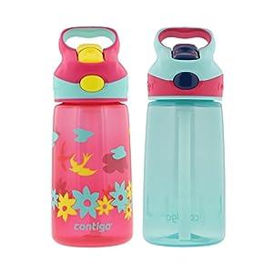 Contigo 14oz Autospout Striker Kids Water Bottle, Cherry Blossom & Aqua Float (2 Pack)