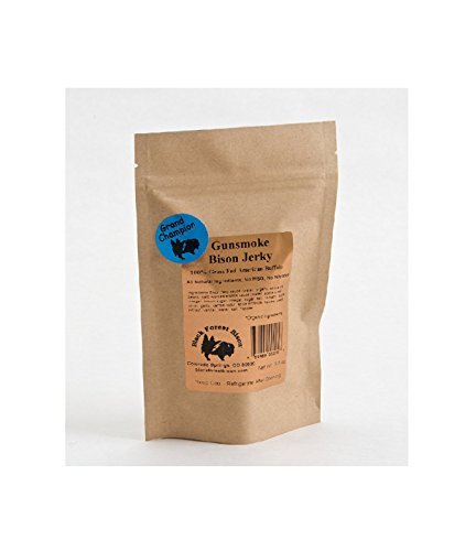 Bison Meat (Gunsmoke Bison Jerky, Natural Smoke Flavor, all natural GLUTEN FREE 3.5oz)