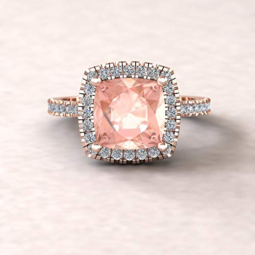 (Square Cushion Cathedral Ring - Genuine 8mm Morganite and Diamond Engagement Ring from our Helena Collection - By Laurie Sarah - LS5888)