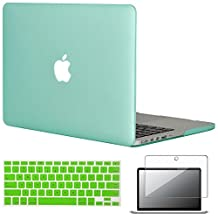 """Easygoby 3in1 Frosted Matte Silky-Smooth Soft-Touch Hard Shell Case Cover for Apple 13.3""""/ 13-inch MacBook Pro with Retina Display Model A1425 /A1502 (NO CD-ROM Drive) + Keyboard Cover + Screen Protector - Green"""