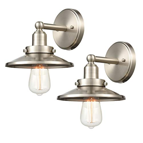 WILDSOUL 40011SN-2 Industrial Vintage Wall Sconce, Brushed Nickel Finish Modern Farmhouse Wall Light Fixture, 1-Light, LED Compatible, Pack of 2