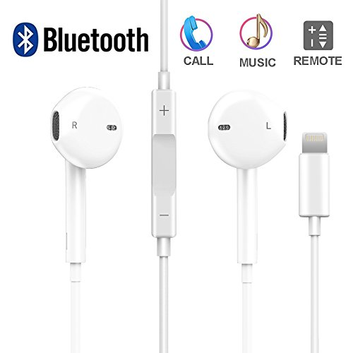 Earbuds Headphones Lightning, KFK Stereo Earphones With Microphone Noise Isolating headset for iPhone 7/7 Plus iPhone8/8Plus iPhone X (white) (Isolating Stereo Headset Noise)