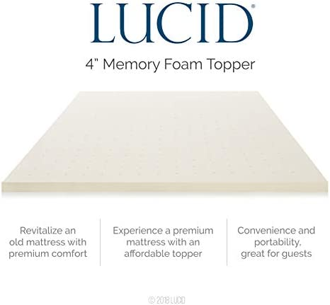 home, kitchen, bedding, mattress pads, toppers,  mattress toppers 9 on sale LUCID 4 Inch Ventilated Memory Foam Mattress Topper promotion