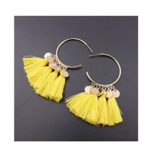 doublelovely Ethnic Bohemia Drop Dangler Long Tassel Earrings Sector Earrings for Women Jewelry Yellow OneSize