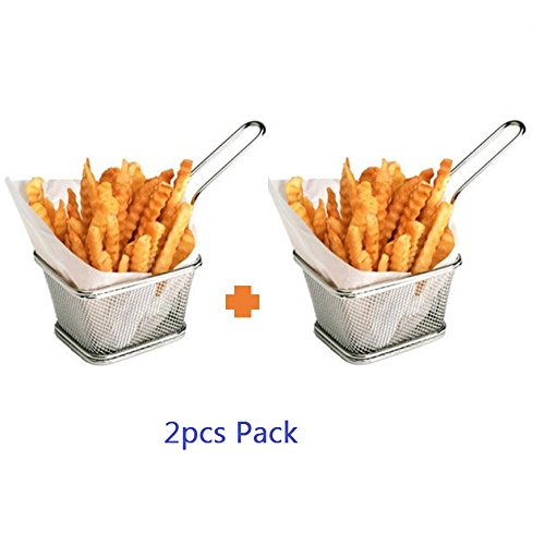 Stainless Steel Mini French Fries Basket Square Fryer Baskets, FDA Grade Kitchen Cooking Tool Food Presentation Tableware (Small 4inch 2pcs pack)