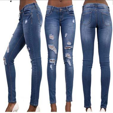 Ajustados Stretch Los DAMENGXIANG Azul Nuevos Wash Mujer De Slim Hole Jeans Marino RFRpqx0