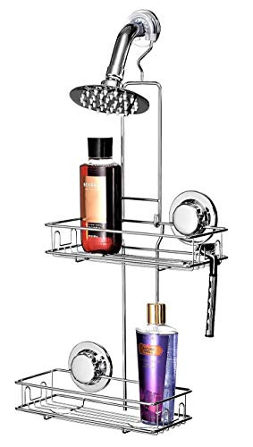 BRIOFOX Shower Head Caddy 2 Tier, Powerful Adhesive Cup Non-Fall Down, Never Rust 304 Stainless Steel & Durable and Sturdy Large Basket Shelves 8 Hooks, Hanging Bathroom Caddy Organizer Storage