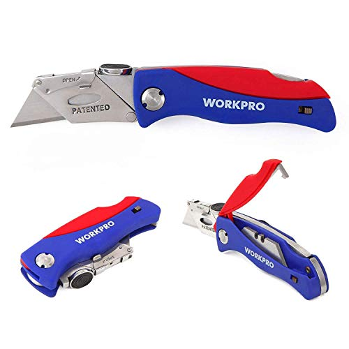 WORKPRO Folding Utility Knife Quick-change Box Cutter, Blade Storage in Handle with 5 Extra Blade Included ()