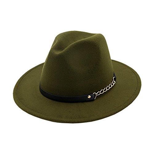 AHATECH Women's Wide Brim Wool Felt Fedora Panama Hat Cap For Women
