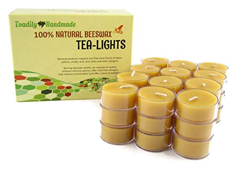 Toadily Handmade Beeswax Candles 36 Hand Poured Beeswax Tea-Light Candles in Natural - Plastic Cups & Chemical Free Cotton Wicks - 100% Beeswax Candles Made in The USA