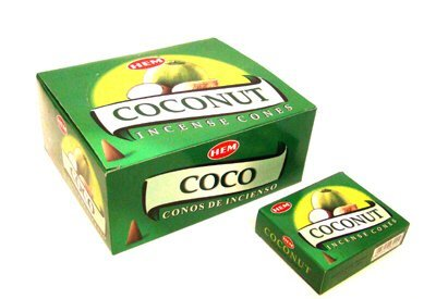 Coconut Incense - Coconut - Case of 12 Boxes, 10 Cones Each - HEM Incense From India