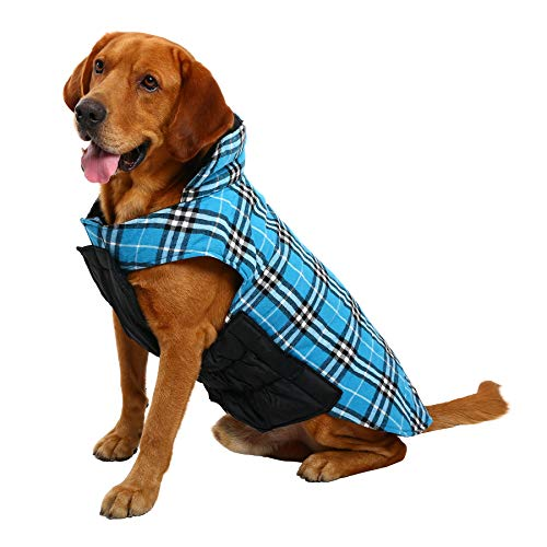MIGOHI Dog Jackets for Winter Windproof Waterproof Reversible Dog Coat for Cold Weather British Style Plaid Warm Dog Vest for Small Medium Large Dogs (XL, Blue) (Warm Dog Coats Medium)