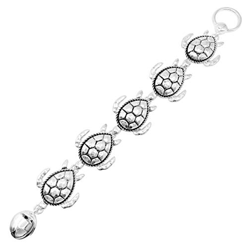 Gypsy Jewels Theme Magnetic Clasp Statement Silver Tone Link Bracelet (Sea Turtle)