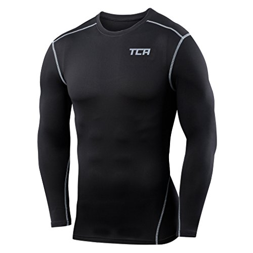 Mens TCA Pro Performance Compression Shirt Long Sleeve Base Layer Thermal Top - Black, M (Team Mens Thermal Shirt)