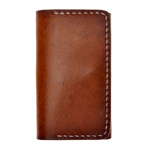 ZLYC Handmade Vegetable Tanned Leather Slim Wallet Coin Purse Credit Card Holder, Brown