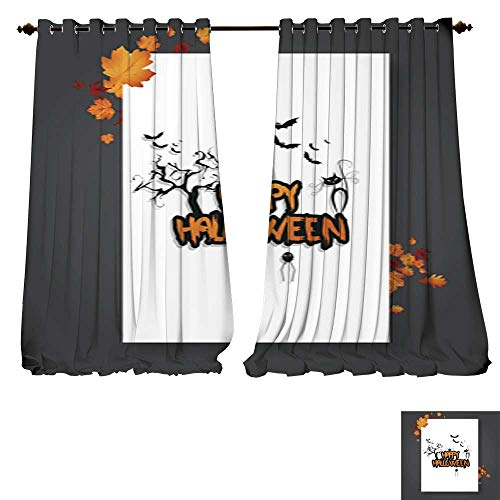 DESPKON-HOME Window Curtain Fabric Halloween Vector Poster Flyer with Autumn Leaves and Happy Halloween Lettering with Grungy Font 3 Blackout Window Curtain Panel -W84 x L96/Pair