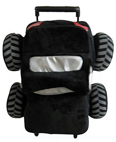 Popatu Boys Black Rolling Backpack with Plush Monster Truck