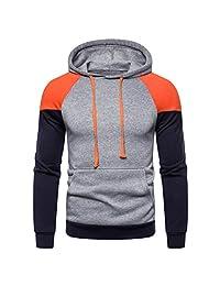 AMOUSTORE Mens' Long Sleeve Patchwork Hoodie Hooded Sweatshirt Tops Jacket Coat Outwear Pullover Hoodies
