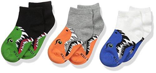 (Stride Rite Boys' Little' 3pk Bite Animal Faces Comfort Seam Quarter, Sock: 6-7.5 / Shoes: 7-10 )