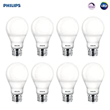 Philips LED Bulb 8 Pack, 60 Watt Equivalent, Soft White (2700K) A19 Dimmable, Medium Screw Base