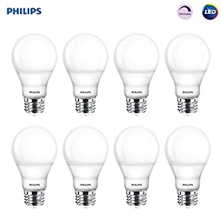 Philips LED Dimmable A19 Frosted Light Bulb: 800-Lumen, 2700-Kelvin, 9.5-Watt (60-Watt Equivalent), E26 Medium Screw Base, Soft White, 8-Pack (Old Generation)