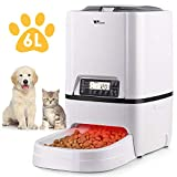 amzdeal Automatic Cat Feeder 6L Pet Feeder Dog Food Dispenser with Time and Meal Size Programmable, LCD Display and Meal Call Recorder Up to 4 Meals A Day