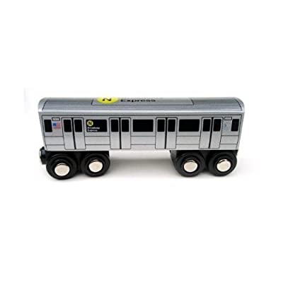 Munipals NYC Subway N Car Toy Train Wooden Railway Compatible: Toys & Games