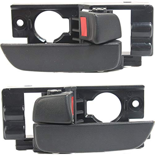 Interior Door Handles Set of 2 Front Left and Right Side Plastic Black W/door lock button compatible with Hyundai Hyundai ()