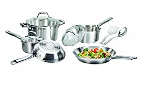 T-fal C811SA Elegance Stainless Steel Cookware Set, 10-Piece, Silver