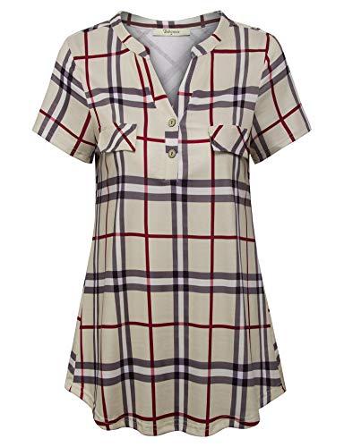 Bebonnie Spring Tops for Women,Ladies Plaid Casual Business Clothing Notch V Neck Short Sleeve Plus Size Top Blouse Maternity Shirts Beige XXL (On Jeans Sale Women Plus Size)